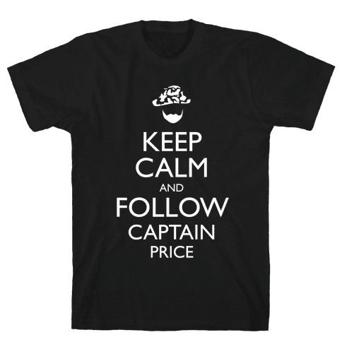 Keep Clam and Follow Captain Price Mens T-Shirt