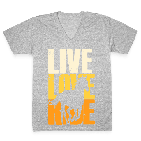 Live, Love, Ride (Gallop) V-Neck Tee Shirt