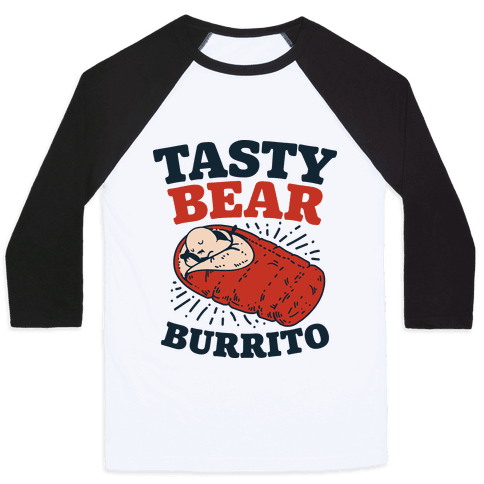 Tasty Bear Burrito Baseball Tee