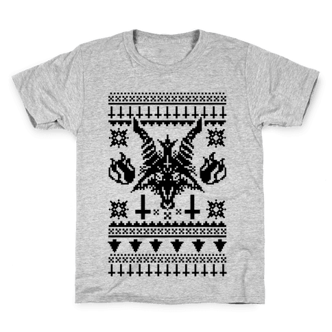 Baphomet Ugly Christmas Sweater  Kids T-Shirt