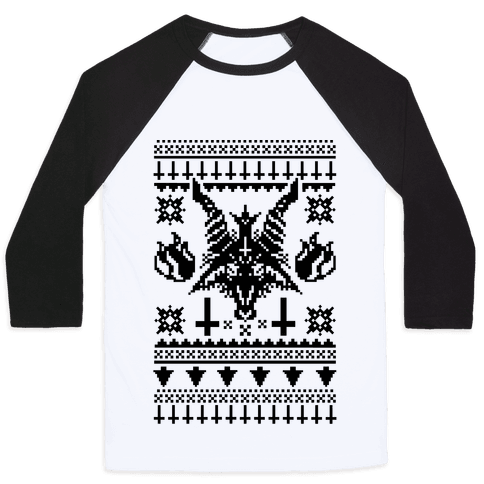 Baphomet Ugly Christmas Sweater  Baseball Tee