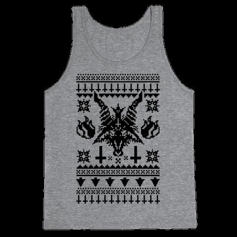 Baphomet Ugly Christmas Sweater  Tank Top