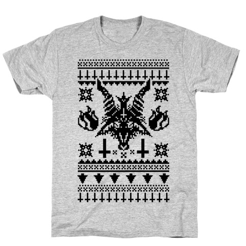 baphomet ugly christmas sweater tee