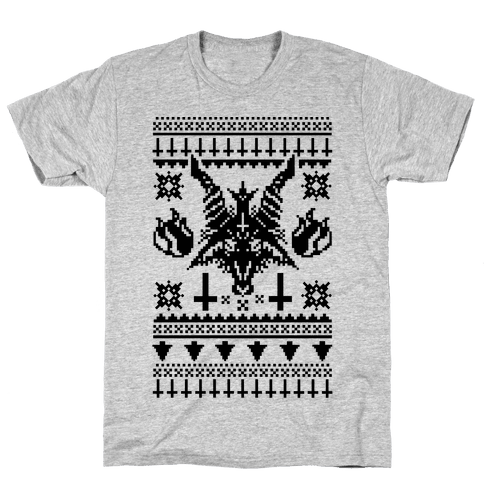 Baphomet Ugly Christmas Sweater  Mens T-Shirt