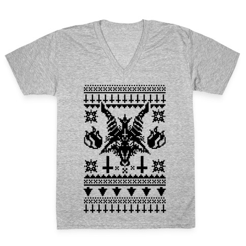 Baphomet Ugly Christmas Sweater  V-Neck Tee Shirt