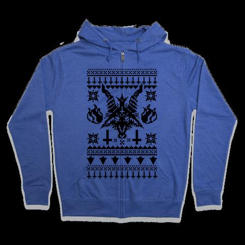 Baphomet Ugly Christmas Sweater  Zip Hoodie