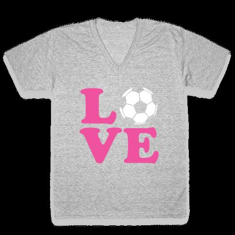 Love Soccer V-Neck Tee Shirt