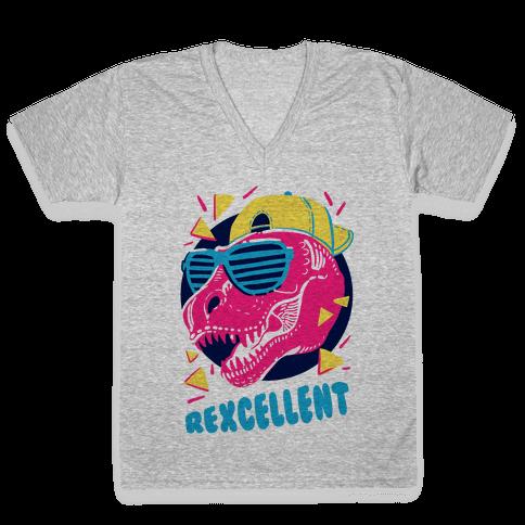 T-Rexcellent 90's Dinosaur Tyrannosaurus V-Neck Tee Shirt