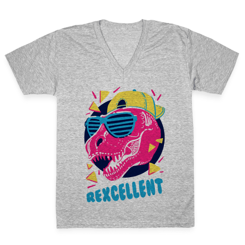 T- Rexcellent 90's Dinosaur V-Neck Tee Shirt