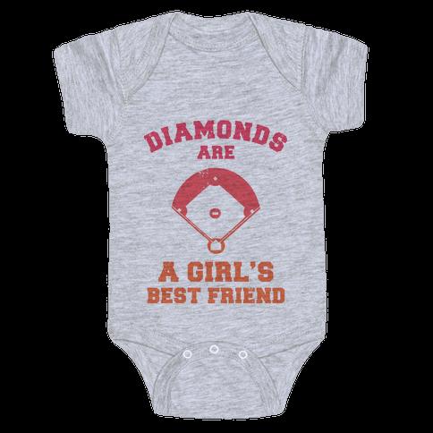 Diamonds are a Girls Best Friend (baseball shirt) Baby Onesy