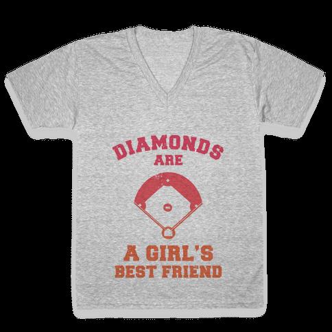 Diamonds are a Girls Best Friend (baseball shirt) V-Neck Tee Shirt