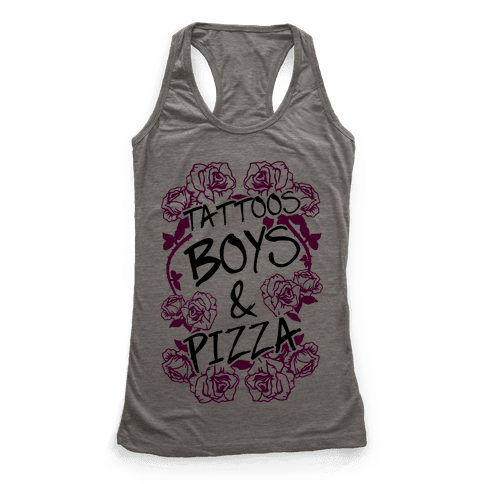 Tattoos Boys & Pizza Racerback Tank Top
