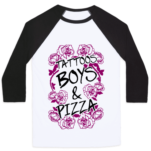 Tattoos Boys & Pizza Baseball Tee