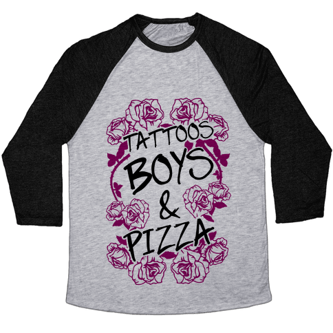 Tattoos Boys & Pizza Baseball Tee