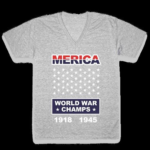 World War Champs V-Neck Tee Shirt