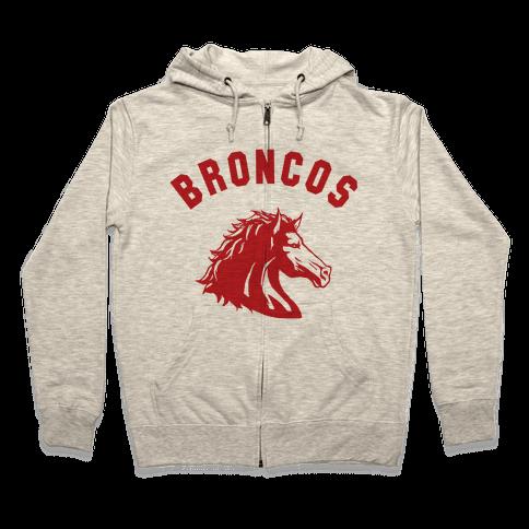 Broncos Red Zip Hoodie