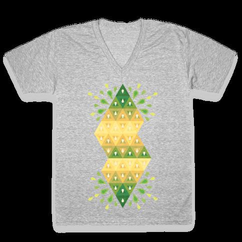 Abstract Summer Seed Garden V-Neck Tee Shirt