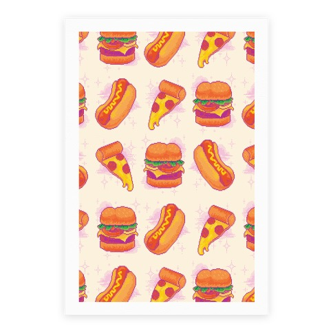 Pixel Junk Food Poster
