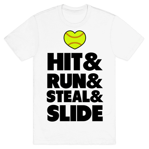 Hit & Run & Steal & Slide Mens T-Shirt