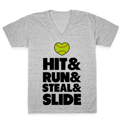 Hit & Run & Steal & Slide V-Neck Tee Shirt