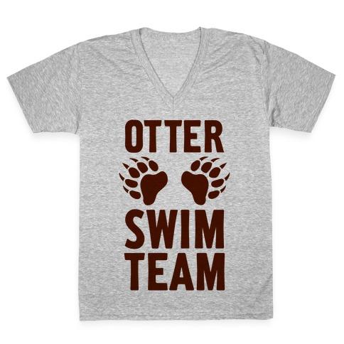Otter Swim Team V-Neck Tee Shirt