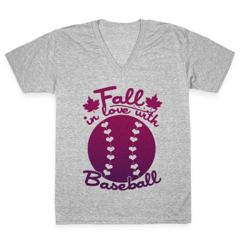 Fall In Love With Baseball V-Neck Tee Shirt