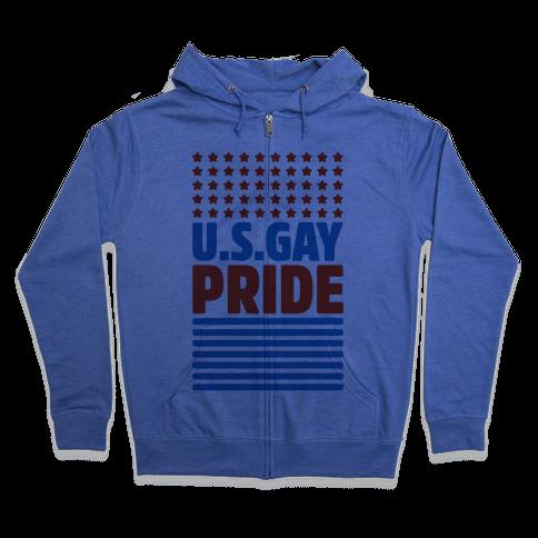 USA Gay Pride Zip Hoodie