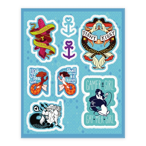 Mermaid Themed Sticker and Decal Sheet