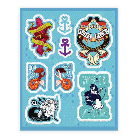 Mermaid Themed  Sticker/Decal Sheet