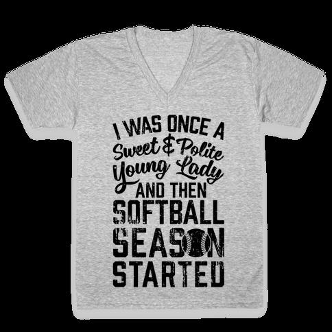 ...And Then Softball Season Started V-Neck Tee Shirt