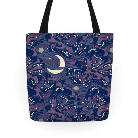 Occult Werewolf Moon Pattern Tote