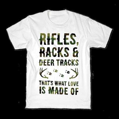 Rifle, Racks & Deer Tracks Kids T-Shirt