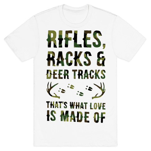 Rifle, Racks & Deer Tracks Mens T-Shirt