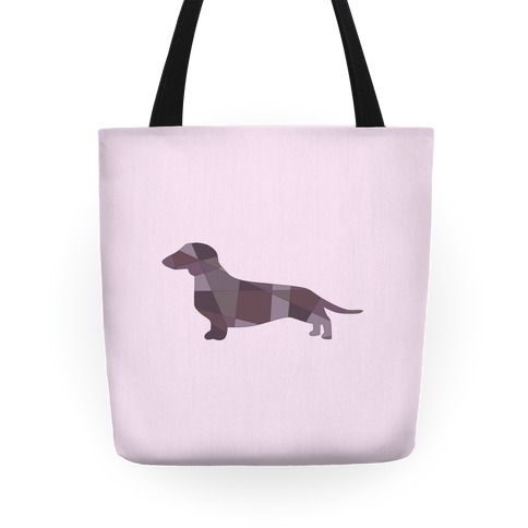 Geometric Wiener Dog Tote