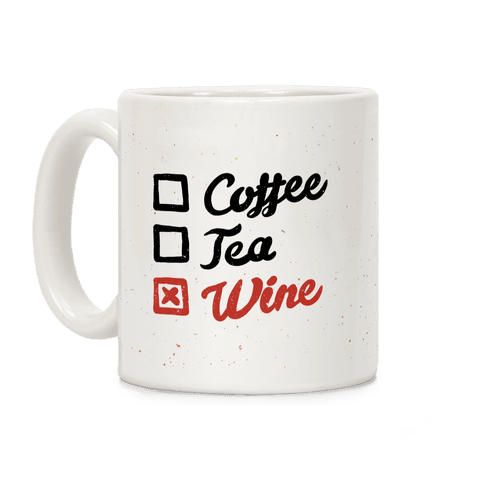 Coffee, Tea, And Wine Checklist Coffee Mug