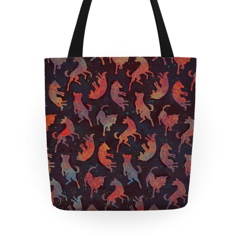 Astronaut Dog Pattern Tote