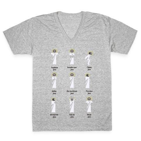 Touchdown Jesus (Black Type) V-Neck Tee Shirt