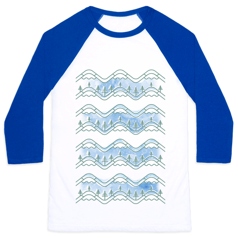 Watercolor Mountains Baseball Tee