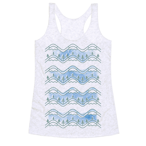 Watercolor Mountains Racerback Tank Top