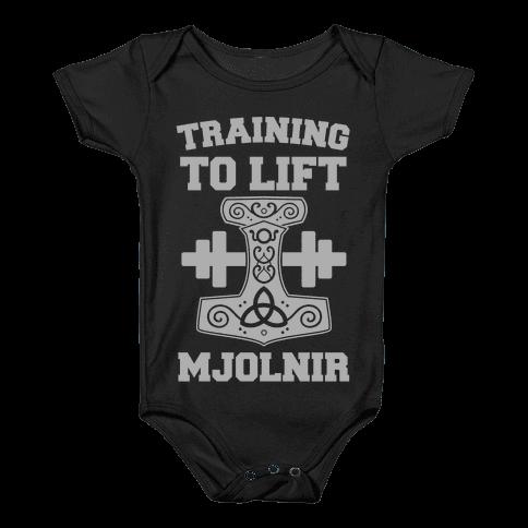 Training to Lift Mjolnir Baby Onesy
