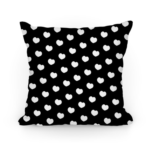 Black and White Polka Dot Hearts Pillow