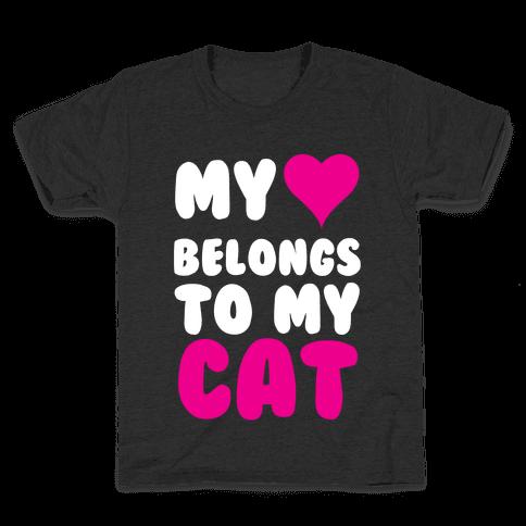My Heart Belongs To My Cat Kids T-Shirt