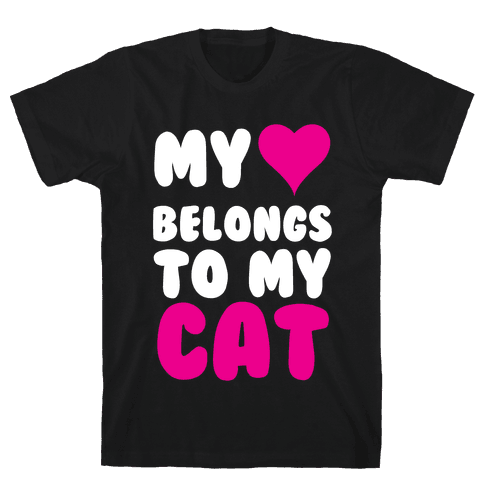 My Heart Belongs To My Cat Mens T-Shirt