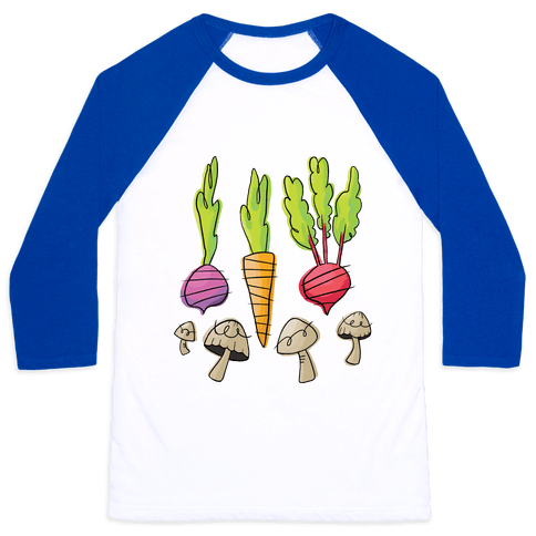 Retro Vegetable Pattern Baseball Tee