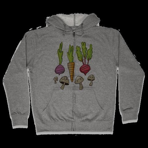 Retro Vegetable Pattern Zip Hoodie