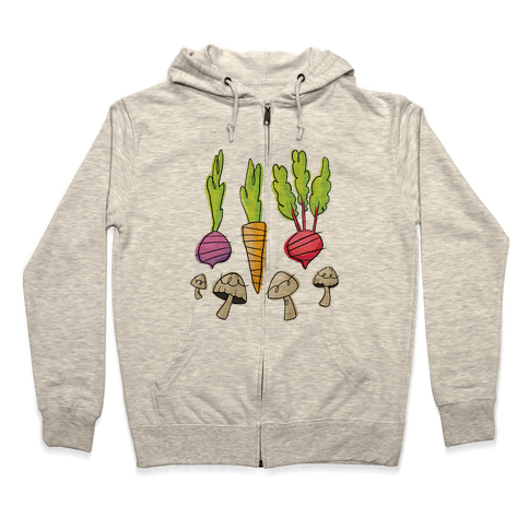 Retro Vegetable Pattern Zip Hoodie