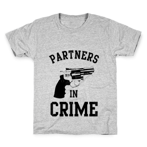 Partners in Crime! (Neon Pink Right) Kids T-Shirt