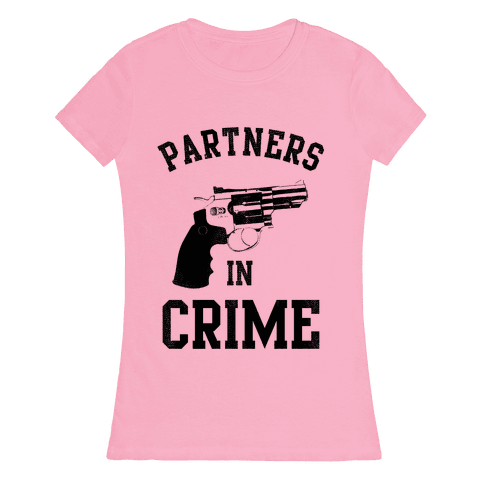 Partners in Crime! (Neon Pink Right) Womens T-Shirt