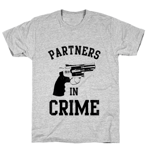 Partners in Crime! (Neon Pink Right) Mens T-Shirt