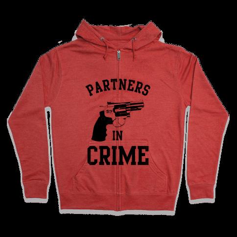 Partners in Crime! (Neon Pink Right) Zip Hoodie